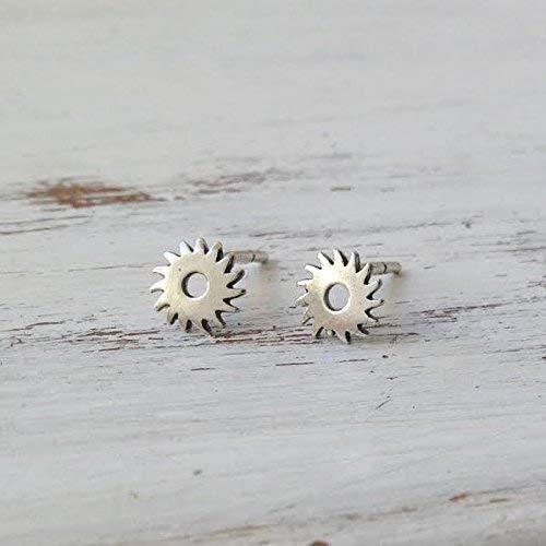 Custom Steampunk Earrings Studs Tiny 952 Sterling Silver Gear Wheel Stud Earrings - Stud Gear