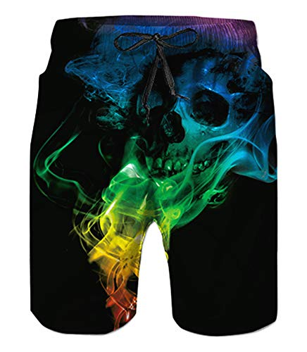 - Belovecol Men's Swimsuits Skull Swim Trunks Cool Casual Quick Dry Swim Trunks Graphic Black XL