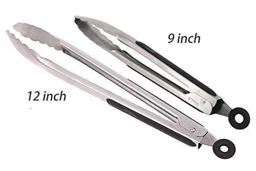 Professional Tongs (Tenta Kitchen_ Kitchen Locking Tongs with Silicone Handle, Stainless Steel, Silver- Professional Chefs Tool for Cooking, Baking (9