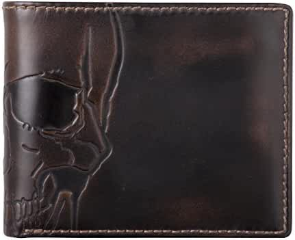 HOJ Co. SKULL Double ID Bifold-Hand Burnished Premium Leather-Multicard Capacity