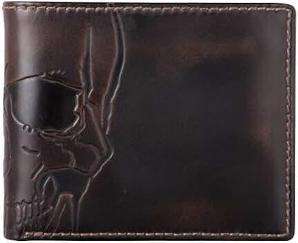 HOJ Co. SKULL Double ID Bifold-Hand Burnished Premium Leather-Multicard Capacity