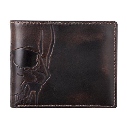 HOJ Co. SKULL Wallet-Double ID Bifold-Full Grain Mens Leather Wallet-Multi Card - Skull Men Leather Wallets For