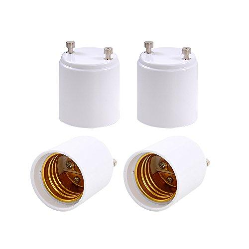 XiSHUAi 4-Pack GU24 to E26 E27 Adapter - Converts your Pin Base Fixture (GU24) to Standard Screw-in Bulb Socket (Socket Gu24)