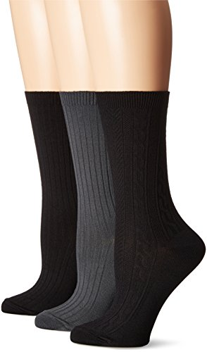No Nonsense Women's Nylon Crew Cable Socks 3-Pack, Assorted, One Size, 4-10