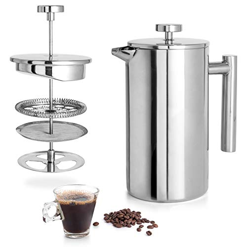 Mixpresso Stainless Steel French Press Coffee Maker 34 Oz 1L Double Wall Metal Insulation Coffee Press &Tea Brewer Easy Clean, And Easy Press