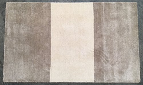 Pottery Barn Taupe/Ivory Awning Stripe Hand-Loomed Rug (3' x 5')
