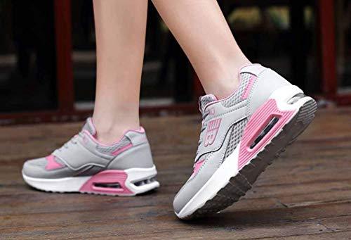 donna UN tonda da Punta Primavera Comfort camminata Scarpe Estate Nero poliuretano Creepers Sneakers Rosso Scarpe PU Maglia Bianco da A5UdWnx