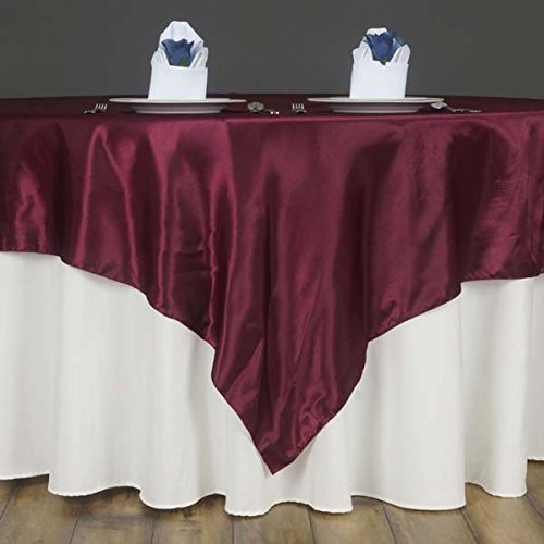 Efavormart 60 Satin Square Tablecloth Overlay for Wedding Catering Party Table Decorations Burgundy Square Tablecloth Cover