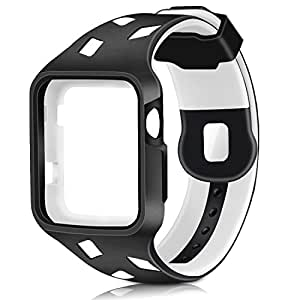 Gaoche Apple Watch Band with Case , Shock-proof and Shatter-resistant Protective Case with TPU Sport iWatch ReplacementBand for Apple Watch Series 3/2/1 Sport and Edition 42mm M/L (black/white)