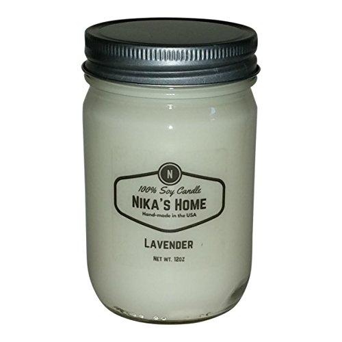 Nika's Home Lavender Soy Candle - 12oz Mason Jar