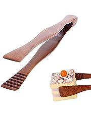 Brödtångar, trämattänger, bambu teklip, trätång, efterrätt bröd tång, för kök camping grill buffé restaurang bakverk sallad efterrätt (brun)