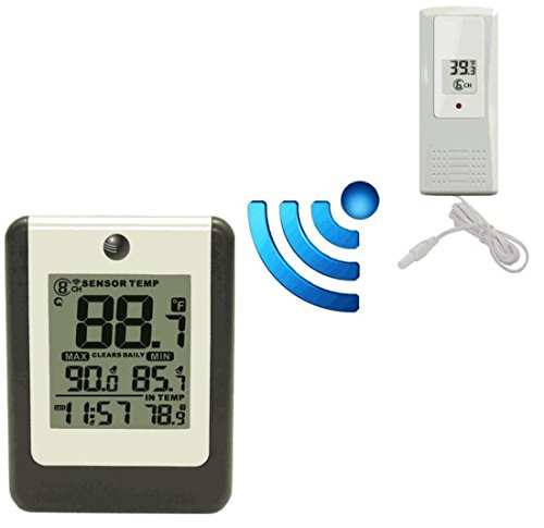Ambient Weather WS-15 Wireless 8-Channel Thermometer with Plastic Probe Thermometer