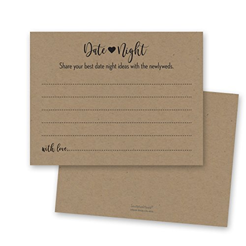 48 cnt Kraft Date Night Cards, Date Night Ideas, Date Jar, Rustic Bridal Shower and Wedding Reception -