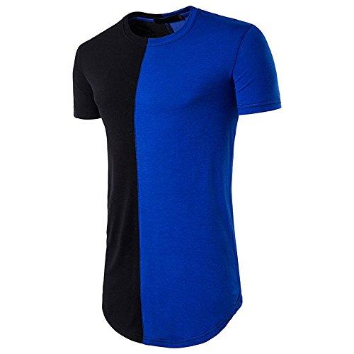 Herrenmode Hit Nähte langen Abschnitt der High Street Hip-Hop-T-Shirt Gerade Typ , blue , s