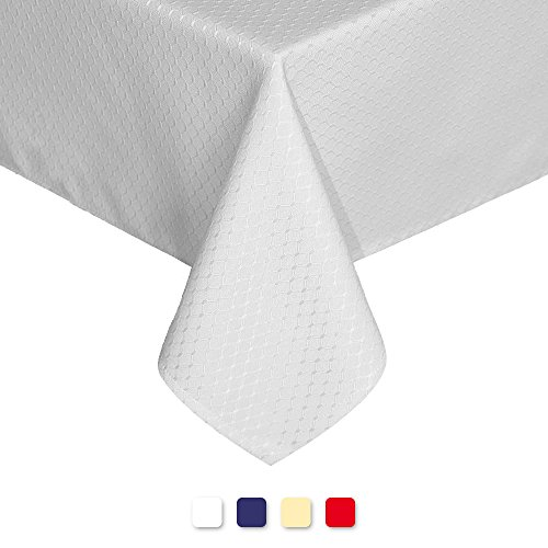 Eforgift Stain Resistant Tablecloths Oil Proof Water Repellent Waffle Fabric Rectangle Table Cover Wrinkle Free Heavy Weighted for Parties Picnics, Pearl White, Large Size 60 x 120 inches