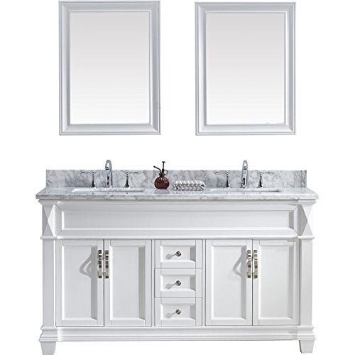 Virtu USA MD-2660-WMSQ-WH-002 Victoria Double Bathroom Vanity with Marble Top, Square Sink & Polished Chrome Faucet/Mirror, 60