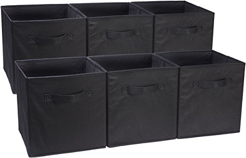 AmazonBasics Foldable Storage Bins Cubes Organizer, 6-Pack, Black (Closet Maid Black Drawer)