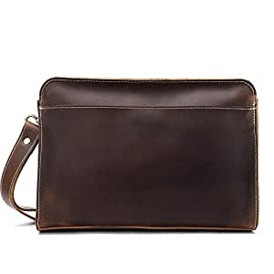 Hbssee- Retro Crazy Horse Leather Brown Men's Handbag Business Long Handbag Leather Head Leather Wallet (Color : Coffee, Size : S)