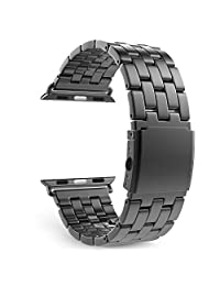 Apple Watch Band Series 1 Series 2, MoKo Stainless Steel Metal Replacement Smart Watch Band Bracelet with Double Button Folding Clasp for 42mm Apple Watch All Models, Space GRAY (Not Fit 38mm 2016)