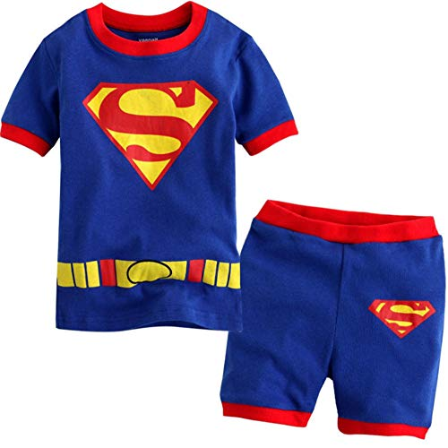 Boys Pajamas 100% Cotton Super Hero Short Kids Snug Fit Pjs Summer Toddler Sleepwear (084, 7T) ()