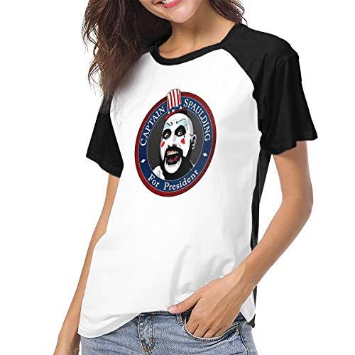 Fional Womens Raglan Baseball T-Shirt Captain-Spaulding-for-President Printed Crew Neck Casual Tee Tops Black