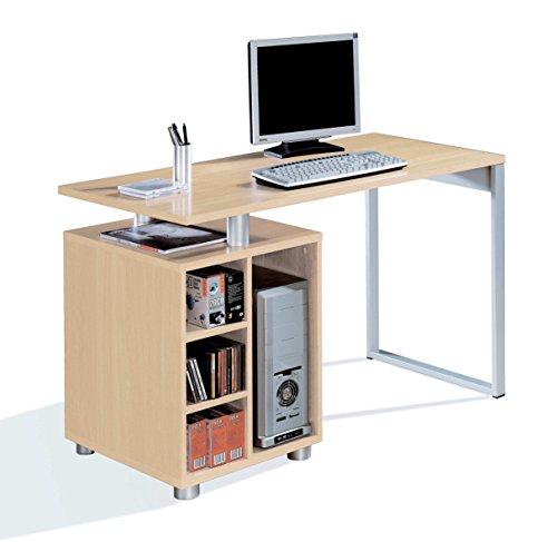 Abitti Escritorio Mesa de Ordenador Multimedia Color Haya, Pata metalica, cajonera 4 Huecos y Tapa Gruesa 22MM para Oficina, despacho o Estudio. 120cm Ancho x 60cm Fondo x 75cm Alt