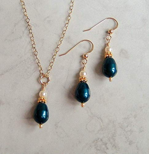 Dark Teal Blue Simulated Teardrop Pearl Gold Fill Earring Necklace Set Made With Swarovski Gift Idea