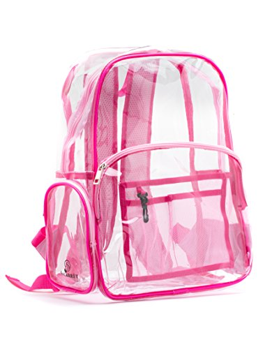 New! Quality Clear Backpack Pink, Heavy Duty Transparent, Double-Reinforced Adjustable Padded Straps...