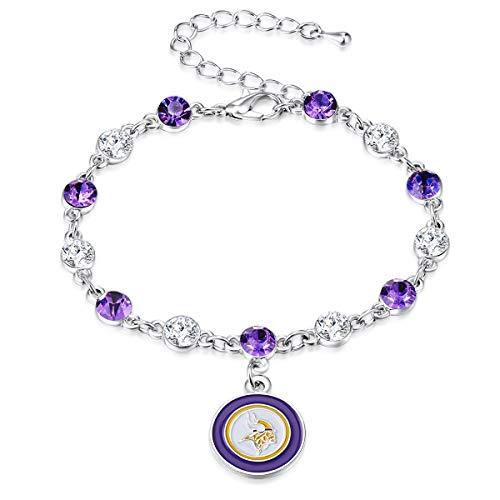 Pro Specialties Group NFL Minnesota Vikings Two Tone Crystal Bracelet