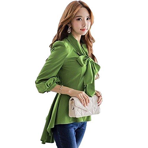 SansoiSan Womens Half Sleeve Top Casual V Neck Layered Chiffon Blouses (Green, Large) ()