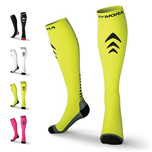 Compression Socks for Men & Women [Cushioned] [One Pair] [Fluorescent] [Medium] - Pro Stockings Support for Running, Nurse, Flight Travel, Diabetic, Varicose Veins, Circulation, Pregnancy, Nursing
