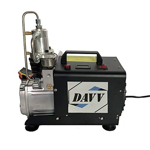 D Machinery 110v 60Hz Portable Air Compressor with Auto Stop, 300bar / 4500psi High Pressure Paintball Tank Filling Station for PCP Game
