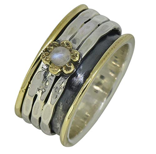 YoTreasure Moonstone Solid 925 Sterling Silver Brass Gemstone Spinner -