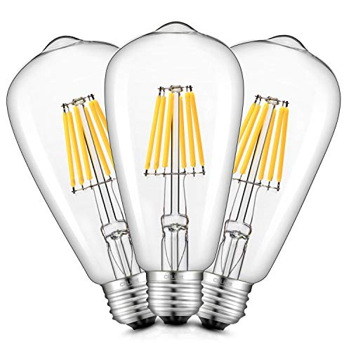 CRLight Dimmable 6W 700LM LED Edison Bulb 3200K Soft White, 70W Equivalent E26 Medium Base, ST21(ST64) Vintage LED Filament Bulbs, 360 Degrees Beam Angle, Pack of 3