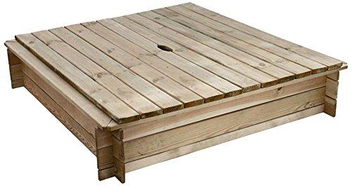 forest-style 230339 - Sandkasten mit 2 Holzdeckel und Geotextil, 120 x 120 x 26 cm