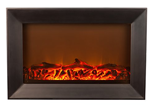 Fire Sense Black Wood Wall Mounted Electric Fireplace (Electric Black Wood Fireplace compare prices)