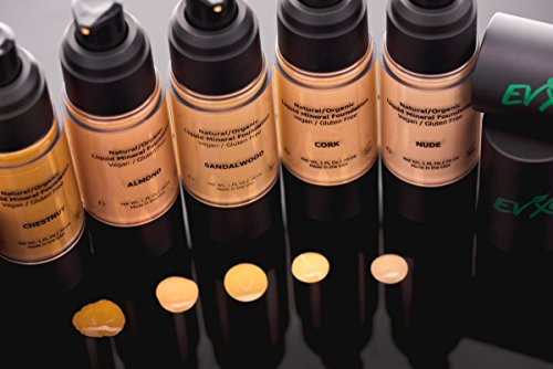 Natural Coverage Liquid Mineral Foundation Makeup - Organic Ingredients, Gluten-Free, Vegan, Cruelty-Free, (Nude/Light with Cool undertones)