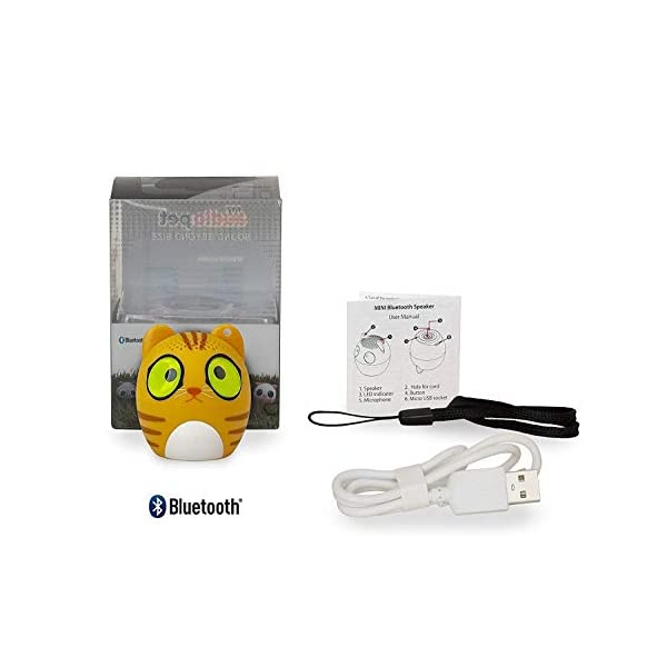TBS2520 Mini Enceinte Bluetooth sans Fil Mini-Animal Chat - Super Mignon - 3 Watts - Fonctions Kit Main-Libre téléphone & Selfie - Appli pour Jouer - pour iPhone Samsung Huawei etc & Tablette 4
