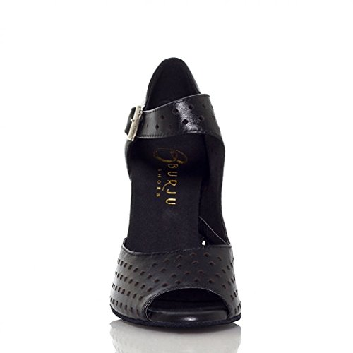 Morden Leather Dance Trendy CRC Black Modern Breathable YCL021 Shoes Ballroom Latin Buckle Womens Mesh PvqnxqBYW
