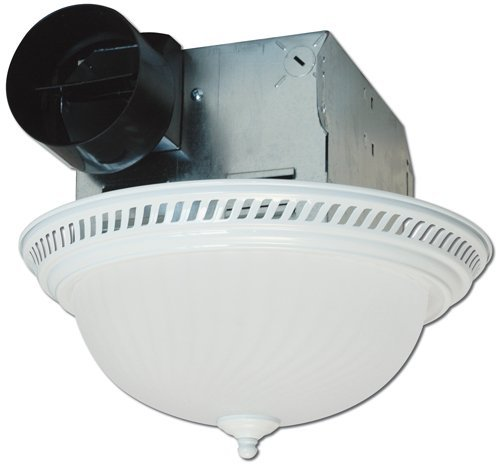 - Air King DRLC703 Decorative Round Quiet Exhaust Bath Fan with Light, 70-CFM, White Finish by Air King