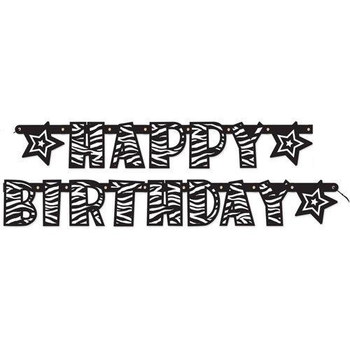 Zebra Stripes Happy Birthday Banner (1ct) -