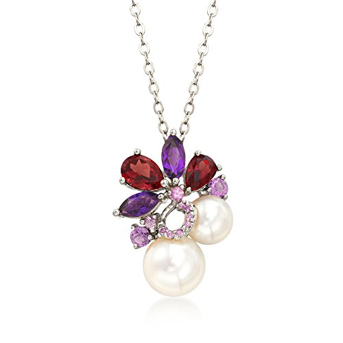 Multi Stone Cluster Necklace - Ross-Simons 7-9.5mm Cultured Pearl and 2.30 ct. t.w. Multi-Stone Cluster Pendant Necklace in Sterling Silver