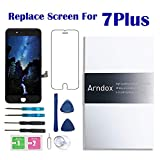 Screen Replacement iPhone 7 Plus (Black), Arndox 5.5 inch LCD 3D Touch Screen Display Digitizer Assembly Kit Repair Tools Tempered Glass