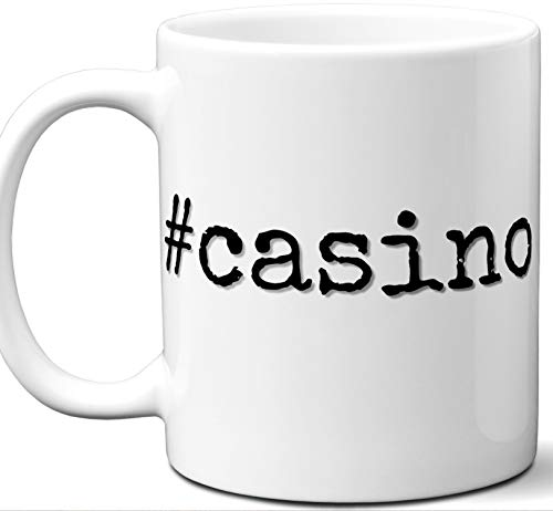 #casino Hashtag Mug Gift. Cool, Hip, Unique Instagram Themed Hash Tag Themed Tea Cup Idea for Men, Women, Fan, Lover, Birthday, Mothers Day Fathers Day Christmas, Coworker.]()