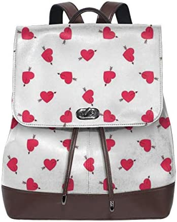 Women's Leather Backpack,Cartoon Hearts with Arrows Love Passion and Romance Pattern,School Travel Girls Ladies Rucksack