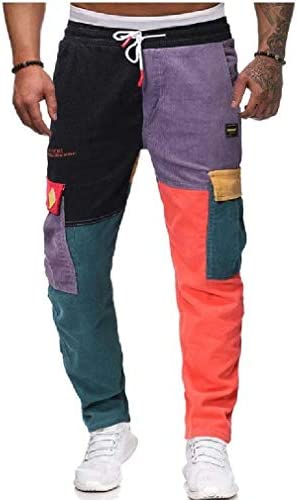 Men's Casual Leisure Long Pants Corduroy Color Block Jogger Pant