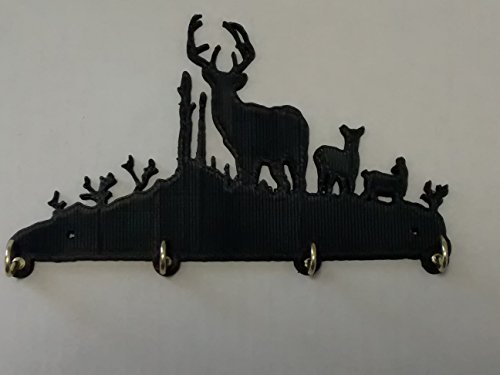 RMP Buck Deer Key Hook Holder Key Rack Jewelry Organizer Wildlife Decor, Black Color ABS Plastic