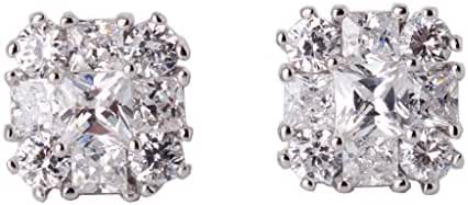 GULICX Eye-catching White Cubic Zirconia rhinestone Vogue Stud white gold Tone earrings