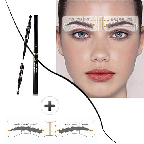 Eyebrow Stencil Shaper with 3 in 1 Eyebrow Pencil Powder Brush-Long Lasting Brow Pencil,Eyebrows Grooming Stencil Kit Reusable Styling Tool,32 Pcs (Autumn Wave Eyebrow stencils+3 in 1 pencil)