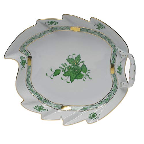 (Herend Chinese Bouquet Green Porcelain Leaf Dish)